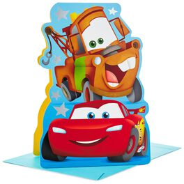 """Disney/Pixar Cars Lightning McQueen and Mater Stand Up Jumbo Birthday Card, 16"""", , large"""