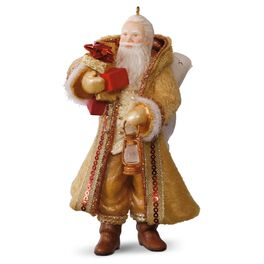 Gold and Amber Father Christmas Ornament, , large