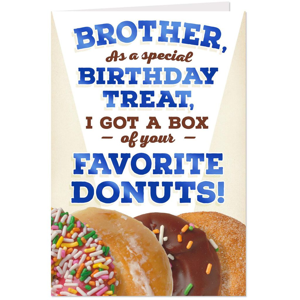 Box Of Donuts Funny Pop Up Birthday Card For Brother