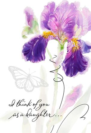 Purple Iris You're Like a Daughter Mother's Day Card