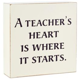Starts With a Teacher's Heart Wood Quote Sign, 4x4, , large