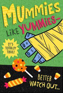 Mummies Like Yummies Halloween Card,