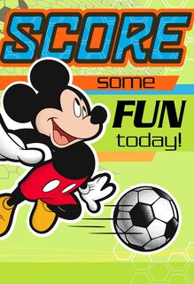 Mickey Mouse Soccer Kids Birthday Card,