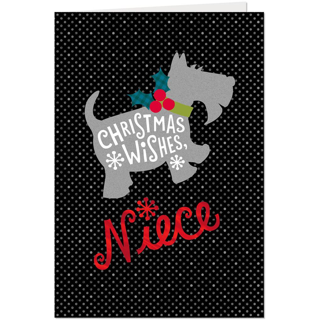 Fuzzy Scottish Terrier Christmas Card for Niece - Greeting Cards ...