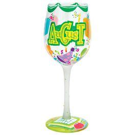 Lolita® August Happy Birthday Handpainted Wine Glass, 15 oz., , large