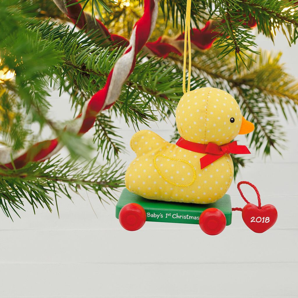 Babys First Christmas 2018 Fabric And Wood Ornament Keepsake