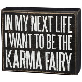 "Primitives by Kathy ""Karma Fairy"" Wood Box Sign, , large"