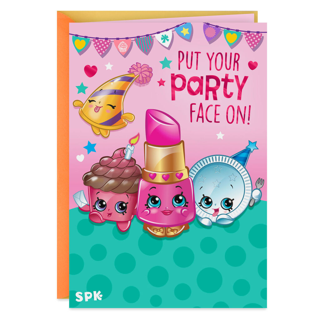 Sensational Shopkins Put Your Party Face On Kids Birthday Card Greeting Personalised Birthday Cards Paralily Jamesorg