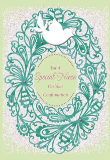 Dove and Wreath Confirmation Card for Niece,