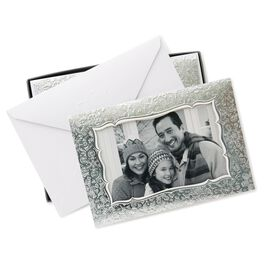 Silver Photo Frame Christmas Cards, Box of 12, , large