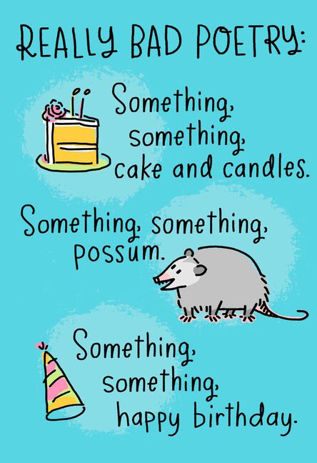 Awesome Possum Really Bad Poetry Funny Birthday Card Greeting