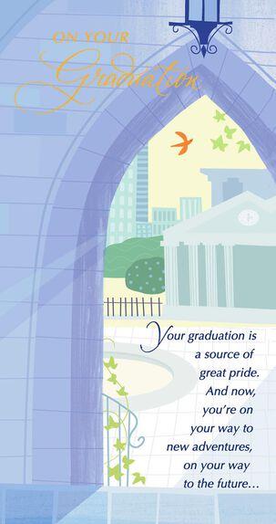Campus Archway Scene Money Holder Graduation Card