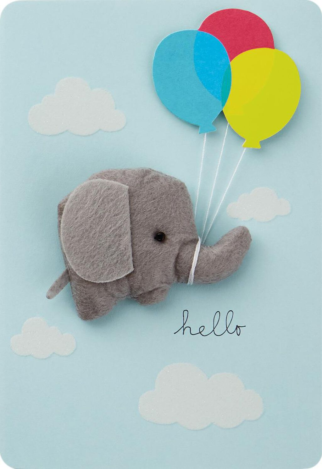 Elephant With Balloons New Baby Boy Congratulations Card Greeting