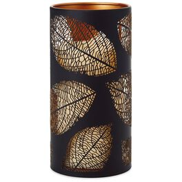 "Lasered Leaf Candle Holder With Flameless Pillar Candle, 7"", , large"