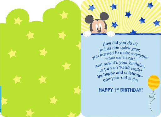 Disney Mickey Mouse How Do You It 1st Birthday Card