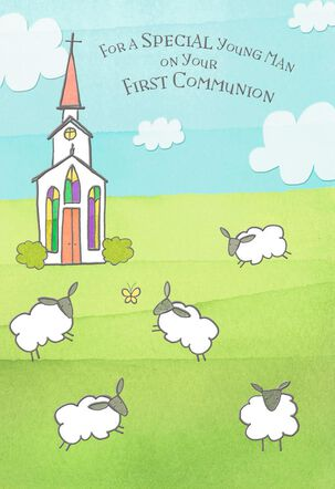 Sheep Grazing in Churchyard First Communion Card for Boy