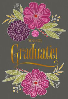 Pink and Purple Flowers Graduation Card,