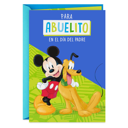Disney Mickey Mouse And Pluto Spanish Language Fathers Day Card For Grandpa
