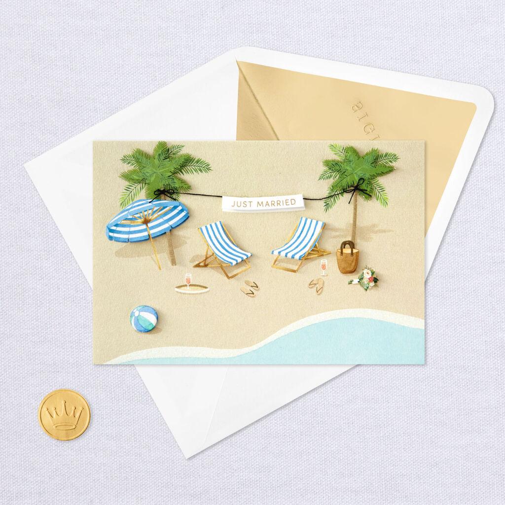 Lounge Chairs On The Beach Wedding Card