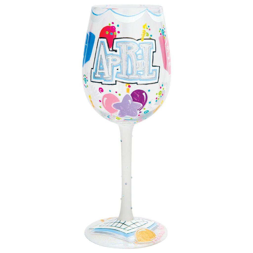 LolitaR April Happy Birthday Handpainted Wine Glass 15 Oz