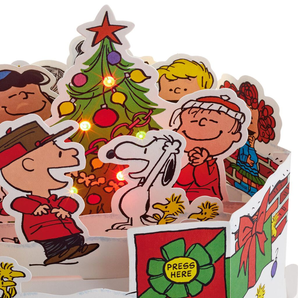 ... Peanuts® Tree Celebration Pop Up Musical Christmas Card With Light ...