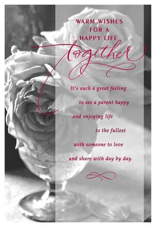 Black and White Rose Photo Wedding Card for Parent