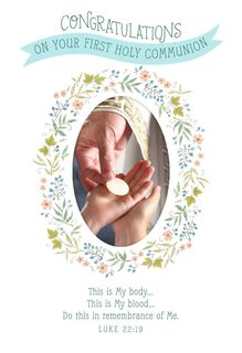 Wreath of Flowers First Communion Card,