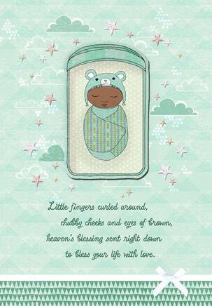 Swaddled Bundle Baby Boy Congratulations Card