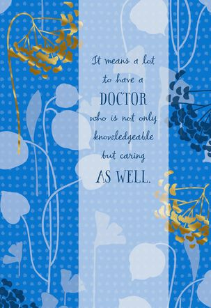 Blue and Gold Flowers Thank You Card for Doctor