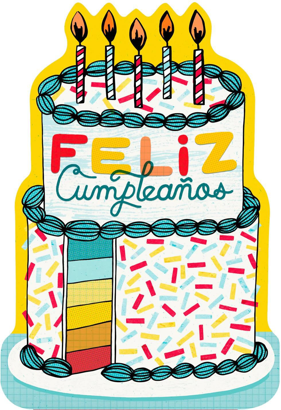 Sprinkle Cake And Candles Spanish Language Birthday Card Greeting