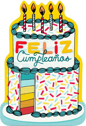 Sprinkle Cake and Candles Spanish-Language Birthday Card