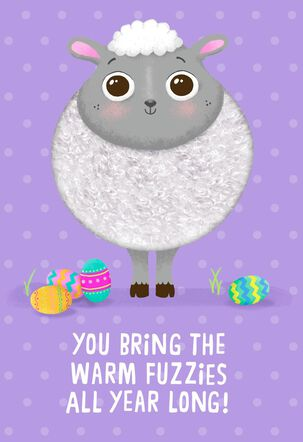 Fuzzy Lamb Warm Fuzzies Easter Card for Kids