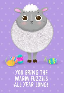Fuzzy Lamb Warm Fuzzies Easter Card for Kids,