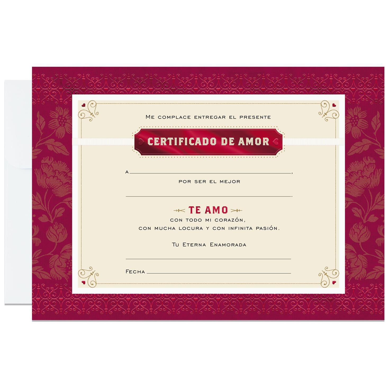 Certificate of Love Large Spanish-Language Card, 12\