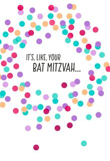 Confetti Dots Bat Mitzvah Congratulations Card,