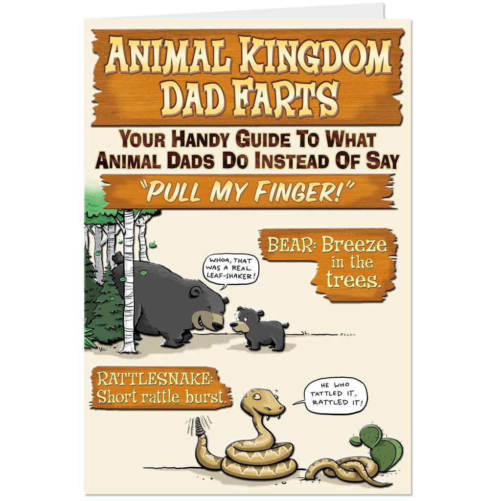 Animal Kingdom Dad Farts Funny Fathers Day Card Greeting Cards