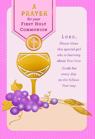 Chalice With Grapes and Wheat Stalks First Communion Card for Girl