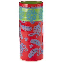 Red and Blue Floral Ceramic Vase, , large