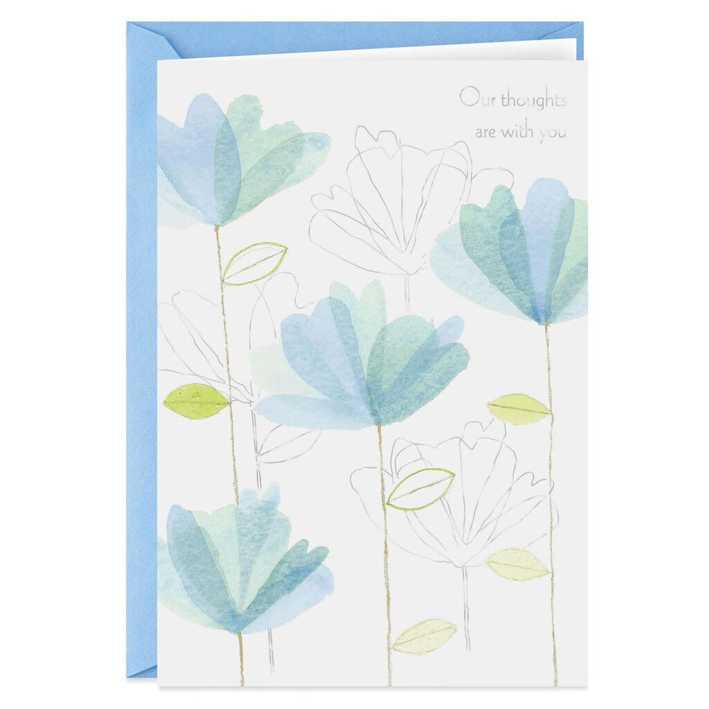 Blue Watercolor Flowers Sympathy Card