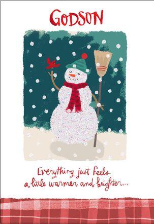 Merry Snowman Christmas Card for Godson