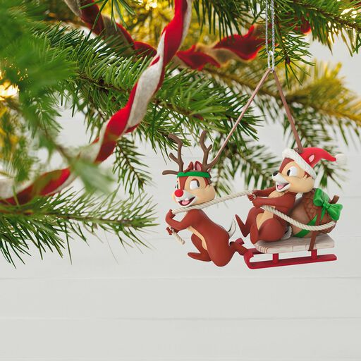 disney chip and dale dashing through the snow ornament