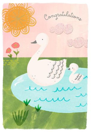 Swans New Baby Girl Congratulations Card