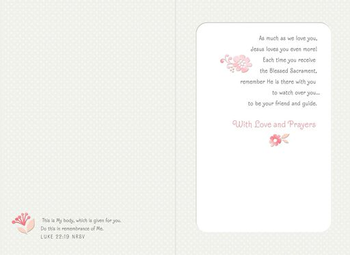 White Dress and Veil First Communion Card for Daughter,
