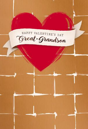 Banner and Heart Valentine's Day Card for Great-Grandson