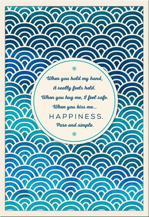 Blue Foil Waves Romantic Birthday Card
