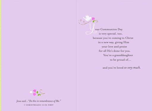 Children at Church First Communion Card for Granddaughter,