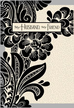 Black and White Floral Birthday Card for Husband