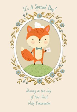 Cute Fox With Dove Religious First Communion Card