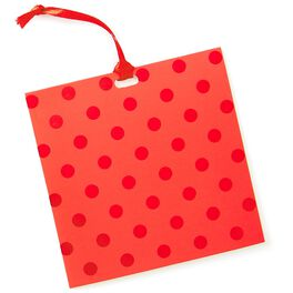 Red Foil Polka Dot Gift Tag With Ribbon, , large