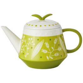 Green Ceramic Teapot With Infuser, 38 oz., , large